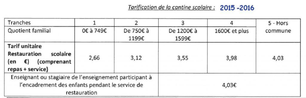 Prix de la cantine 2015 - 2016