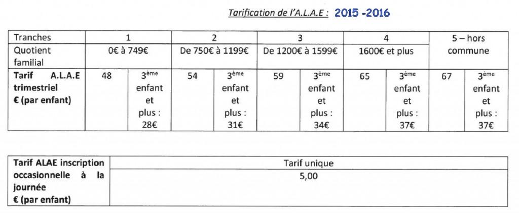 Tarifs ALAE 2015 - 2016